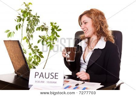 Businesswoman Enjoying Her Coffee-break