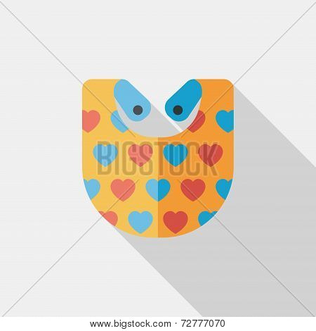 Baby Bib Flat Icon With Long Shadow,eps 10