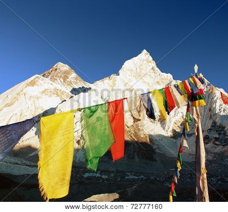 Evening View Of Everest With Buddhist Prayer Flags