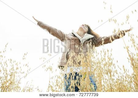 Woman on wheat Big Smile