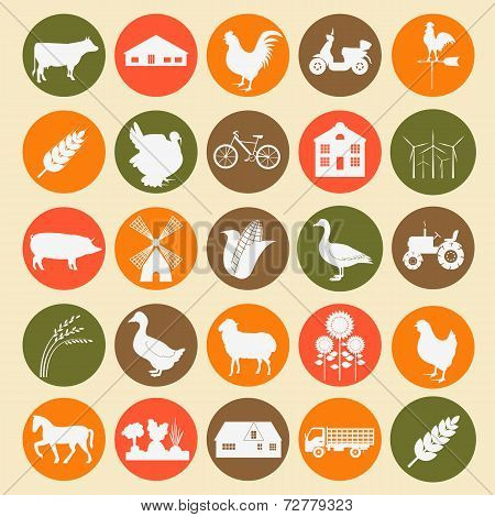 Set Agriculture, Animal Husbandry Icons