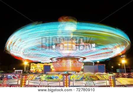 Light Trails Of A Carrusel Rotating