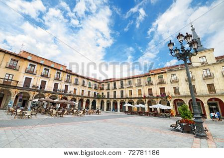 Scenic View Of Leon Major Square. Leon, Spain.