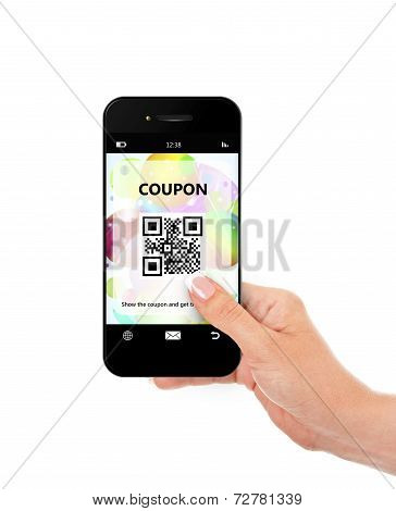 Hand Holding Mobile Phone With Discount Coupon Isolated Over White