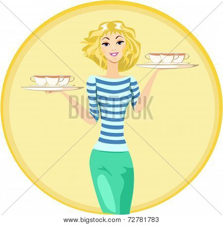 Girl Waitress Carrying A Tray With Cups Of Coffee And Tea Vector, Illustration