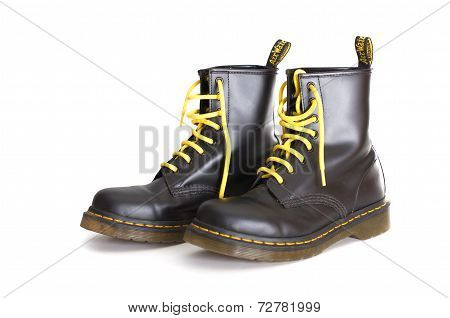 Classic Black Doc Martens Lace-up Boots With Yellow Laces