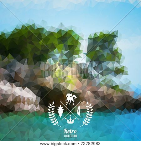 Vector landscape with hipster badge.