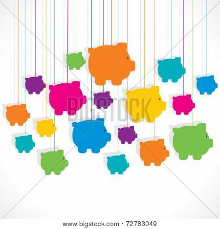colorful hang piggy bank background