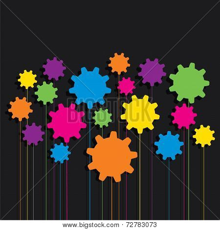 creative colorful gear pattern background