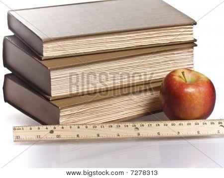 wooden ruler red apple books