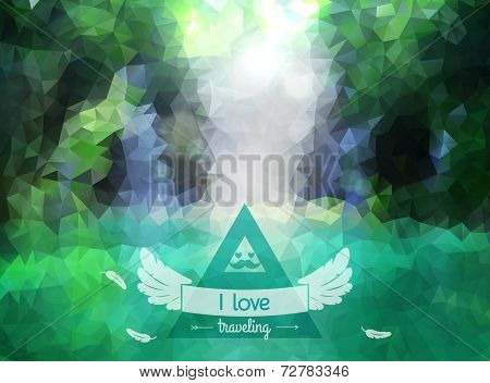 Vector green landscape with hipster badge.
