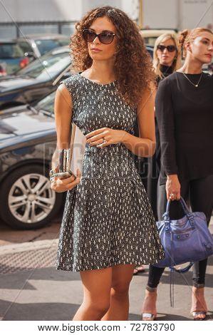 Woman Outside Ferragamo Fashion Shows Building For Milan Women's Fashion Week 2014