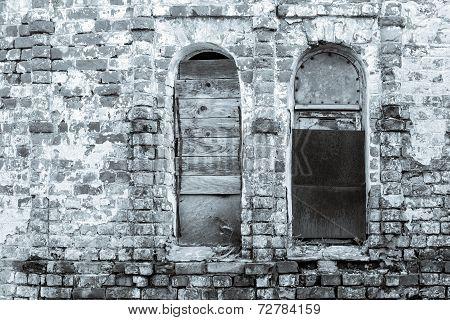 Old Brick Wall Of Monochrome Tone