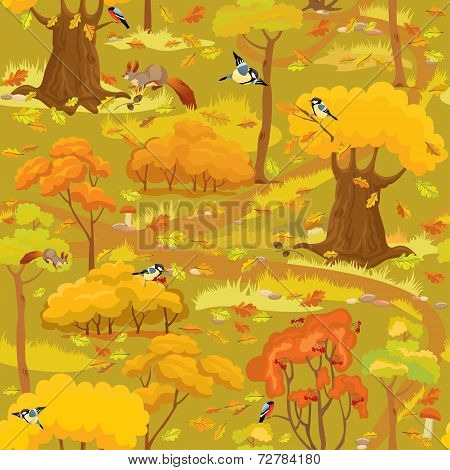 Seamless Pattern - Autumn Forest Landscape With Trees, Mushrooms, Birds And Squirrels. Ready To Use