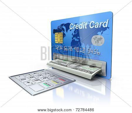 Cash machine in the credit card