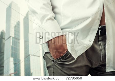 Man's Hand In White Shirt With Cufflink