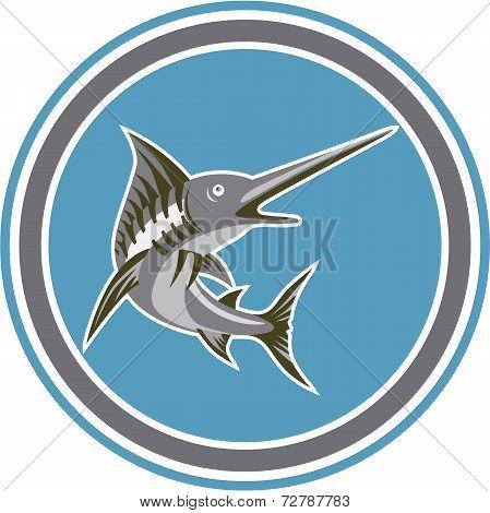 Blue Marlin Fish Jumping Circle Retro