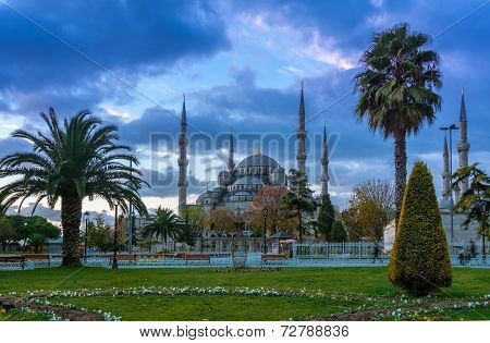 Blue Mosque, Istanbul into sunrise lights