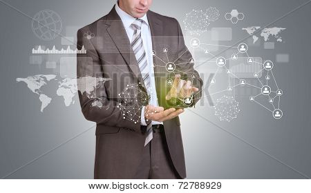 Businessman hold empty copy space. Network, rectangles and world map