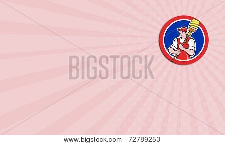 Business Card Janitor Cleaner Holding Broom Circle Cartoon