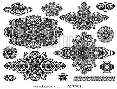 set of ornamental floral adornment, black and white collection