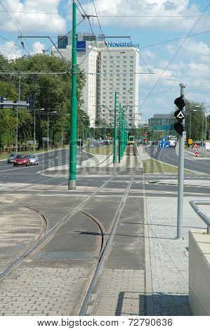 Tram Tracks On Matyi Street In Poznan, Poland