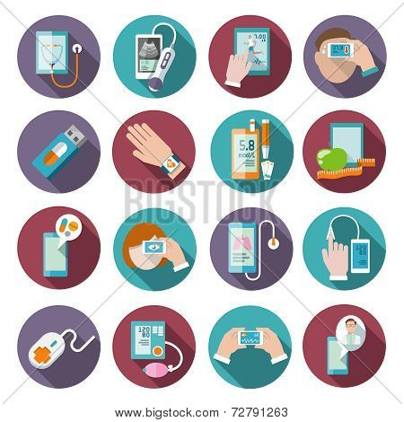 Digital health icons set