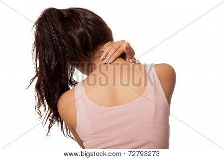Pretty Asian Girl Has Neck Pain