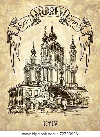 drawing of Saint Andrew orthodox church by Rastrelli