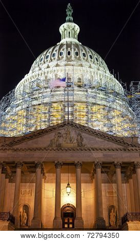 Us Capitol North Side Construction Night Stars Washington Dc