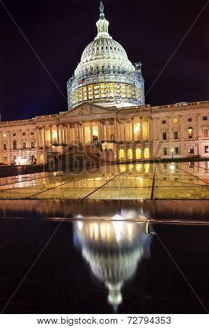 Us Capitol North Side Construction Night Stars Washington Dc Reflection