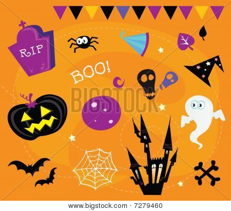 Halloween-Icons und Design-Elemente