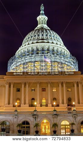 Us Capitol South Side Construction Night Stars Washington Dc