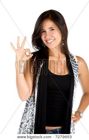Woman Making An Ok Sign