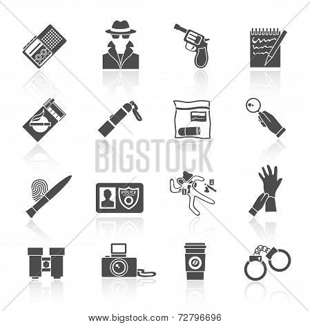 Detective icons set black