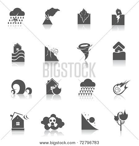 Natural disaster icons black