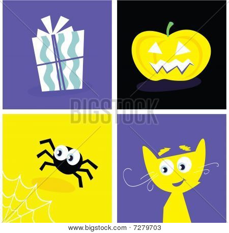 Halloween retro icons