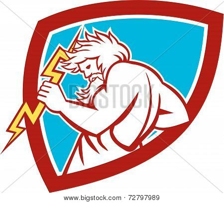 Zeus Wielding Thunderbolt Shield Retro