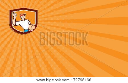Business Card Delivery Man Okay Sign Shield Cartoon