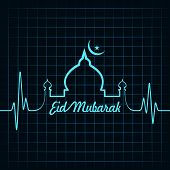 pic of kaba  - Creative calligraphy of text eid mubarak with heartbeat - JPG