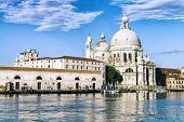 stock photo of gondola  - Gondola on Canal Grande with Basilica di Santa Maria della Salute in the background Venice Italy - JPG