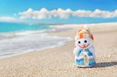 picture of snowmen  - Smiley toy snowman at sea beach - JPG