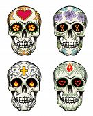 stock photo of sugar skulls  - Vector Skulls with flowers for Day of the Dead - JPG