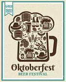 stock photo of pretzels  - Oktoberfest Beer Festival poster design with the outline of a tankard of beer incorporating icons of German beer in bottles  can  tankard  glass  keg  cask  barrel  hops  barley  sausage and a pretzel - JPG