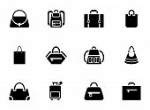 stock photo of sling bag  - Assortment of Black Baggage Icons on White Background - JPG