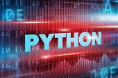stock photo of python  - Python concept red background with blue text - JPG