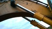 "foto of cylinder  - Hydraulic cylinders or ""rams"" on a digger (excavator)