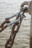 foto of shackles  - the old rusted shackle and chain  - JPG