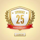 stock photo of 15 year old  - Anniversary 25 celebration golden label shield vector illustration - JPG