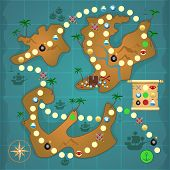 image of treasure map  - Pirate treasure island map game puzzle template vector illustration - JPG
